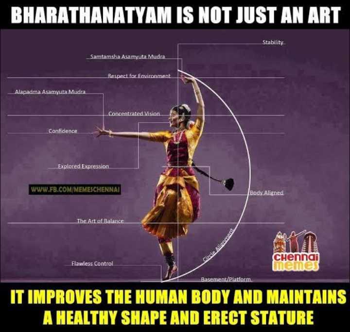 🤗பரதநாட்டியம் - BHARATHANATYAM IS NOT JUST AN ART Stability _ Samtamsha Asamyuta Mudra - Respect for Environment Alapadma Asamyuta Mudra ntrated Vision Confidence Explored Expression WWW . FB . COM / MEMESCHENNAI Body Aligned The Art of Balance Aliment - Flawless Control Chennai memes Basement / Platform IT IMPROVES THE HUMAN BODY AND MAINTAINS A HEALTHY SHAPE AND ERECT STATURE - ShareChat