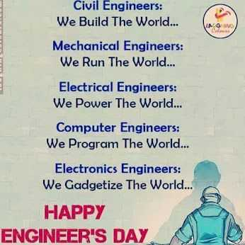 👷பொறியாளர்கள் தினம் - Civil Engineers : We Build The World . . . Mechanical Engineers : We Run The World . . . Electrical Engineers : We Power The World . . . Computer Engineers : We Program The World . . . Electronics Engineers : We Gadgetize The World . . . HAPPY ENGINEER ' S DAY - ShareChat
