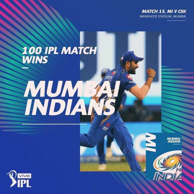 🏏மும்பையிடம் வீழ்ந்தது சென்னை - MATCH 15 , MI V CSK WANKHEDE STADIUM , MUMBAI 100 IPL MATCH WINS MUMBAI INDIAN MUMBAI INDIANS vivo - INDZ - ShareChat