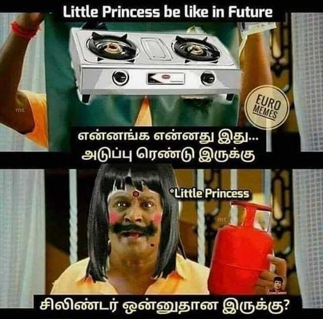 🤣 லொள்ளு - Little Princess be like in Future EURO MEMES int ' என்னங்க என்னது இது . . . ' அடுப்பு ரெண்டு இருக்கு Little Princess 1 சிலிண்டர் ஒன்னுதான இருக்கு ? - ShareChat