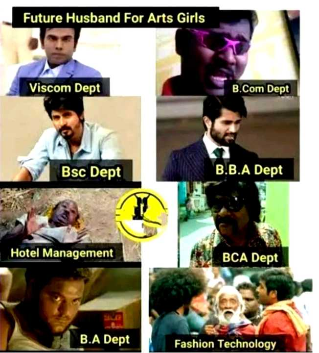 🤣 லொள்ளு - Future Husband For Arts Girls Viscom Dept B . Com Dept Bsc Dept B . B . A Dept Hotel Management BCA Dept B . A Dept Fashion Technology - ShareChat