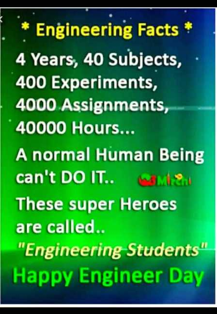 💐வாழ்த்து - * Engineering Facts * 4 Years , 40 Subjects , 400 Experiments , 4000 Assignments , 40000 Hours . . . A normal Human Being can ' t DO IT . . EM 2 These super Heroes are called . . Engineering Students ' Happy Engineer Day - ShareChat
