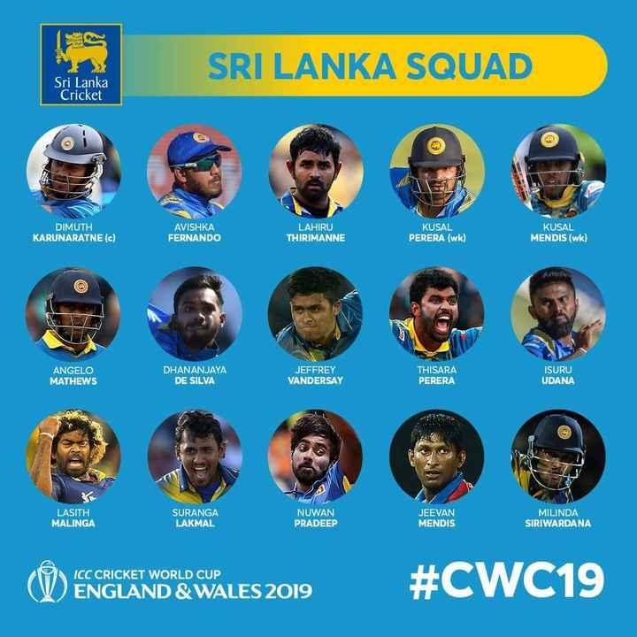 📝 விளையாட்டு செய்திகள் - SRI LANKA SQUAD Sri Lanka Cricket DIMUTH KARUNARATNE ( c ) AVISHKA FERNANDO LAHIRU THIRIMANNE KUSAL PERERA ( wk ) KUSAL MENDIS ( wk ) co ANGELO MATHEWS DHANANJAYA DE SILVA JEFFREY VANDERSAY THISARA PERERA ISURU UDANA 25 LASITH MALINGA SURANGA LAKMAL NUWAN PRADEEP PRADEEP JEEVAN MENDIS MILINDA SIRIWARDANA ICC CRICKET WORLD CUP ENGLAND & WALES 2019 # CWC19 - ShareChat
