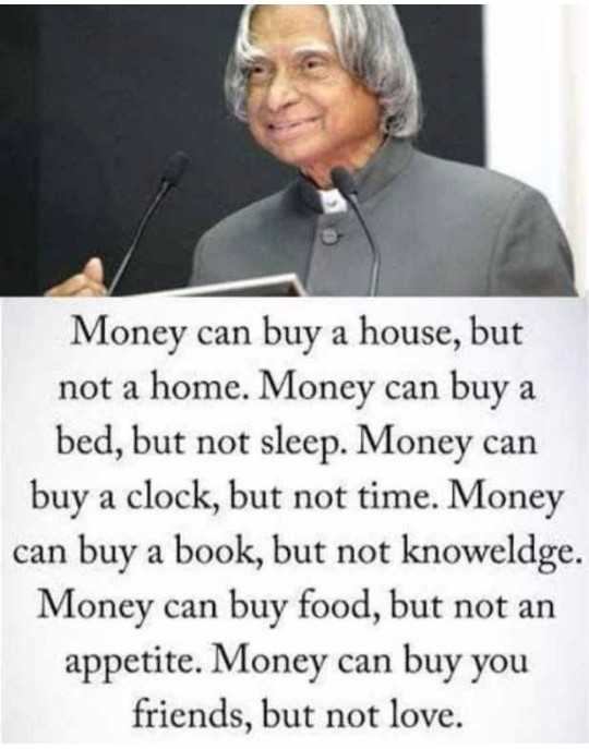 😏ఆటిట్యూడ్ స్టేటస్ - Money can buy a house , but not a home . Money can buy a bed , but not sleep . Money can buy a clock , but not time . Money can buy a book , but not knoweldge . Money can buy food , but not an appetite . Money can buy you friends , but not love . - ShareChat