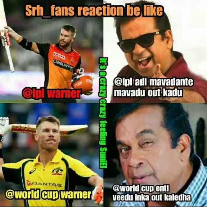 🏆ఆస్ట్రేలియా vs పాకిస్థాన్ - Srh _ fans reaction be like Puis COOLW Qipi warner @ ipl adi mavadante mavadu out kadu ibacrazy crazy feeling Suniel QANTAS @ world cup warner @ world cup enti veedu inka out kaledha - ShareChat