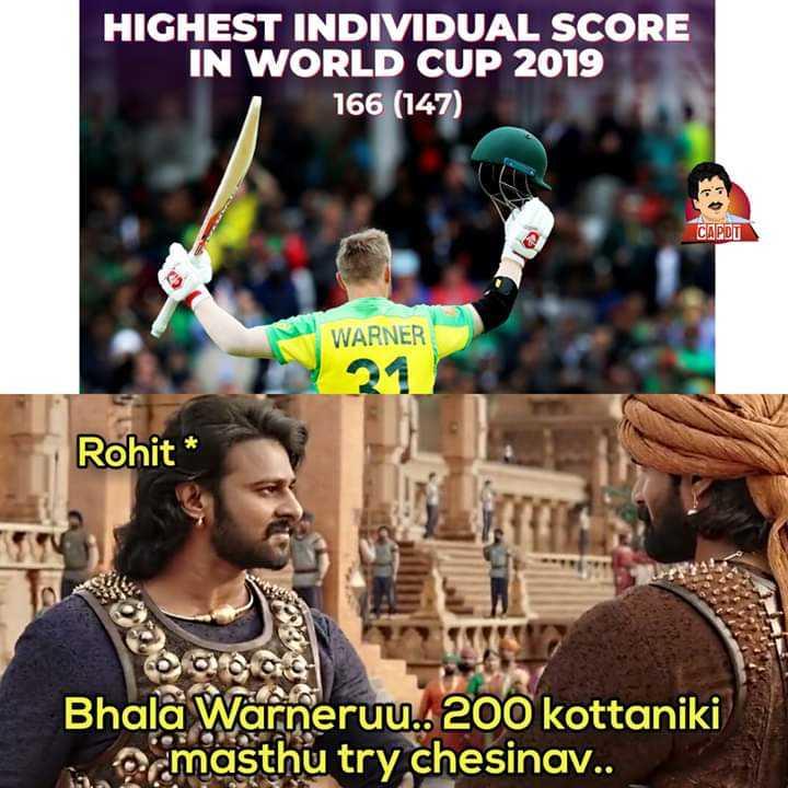 🏆ఆస్ట్రేలియా vs బంగ్లాదేశ్ - HIGHEST INDIVIDUAL SCORE IN WORLD CUP 2019 166 ( 147 ) WARNER Rohit * Bhala Warneruu . . 200 kottaniki ocmasthu try chesinav . . - ShareChat