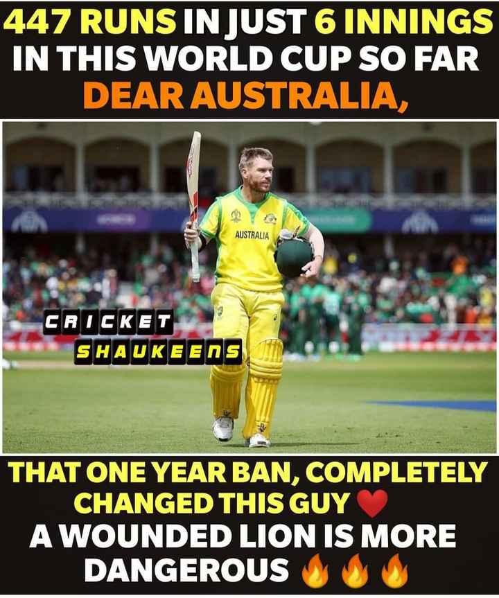 🏆ఆస్ట్రేలియా vs బంగ్లాదేశ్ - 447 RUNS IN JUST 6 INNINGS IN THIS WORLD CUP SO FAR DEAR AUSTRALIA , AUSTRALIA CRICKET SHAUKEENS THAT ONE YEAR BAN , COMPLETELY CHANGED THIS GUY A WOUNDED LION IS MORE DANGEROUS DO - ShareChat