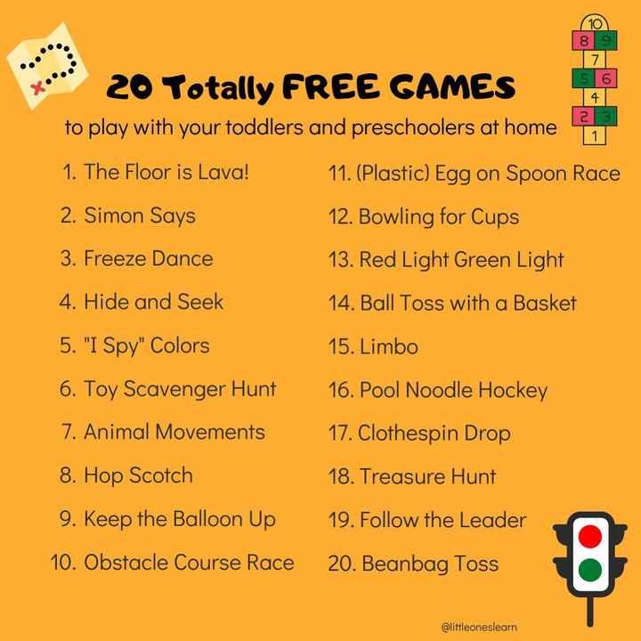 ఇన్డోర్ గేమ్స్ - 8 9 5 6 2 3 20 Totally FREE GAMES to play with your toddlers and preschoolers at home 11 1 . The Floor is Lava ! 11 . ( Plastic ) Egg on Spoon Race 2 . Simon Says 12 . Bowling for Cups 3 . Freeze Dance 13 . Red Light Green Light 4 . Hide and Seek 14 . Ball Toss with a Basket 5 . I Spy Colors 15 . Limbo 6 . Toy Scavenger Hunt 16 . Pool Noodle Hockey 7 . Animal Movements 17 . Clothespin Drop 8 . Hop Scotch 18 . Treasure Hunt 9 . Keep the Balloon Up 19 . Follow the Leader 10 . Obstacle Course Race 20 . Beanbag Toss @ littleoneslearn - ShareChat