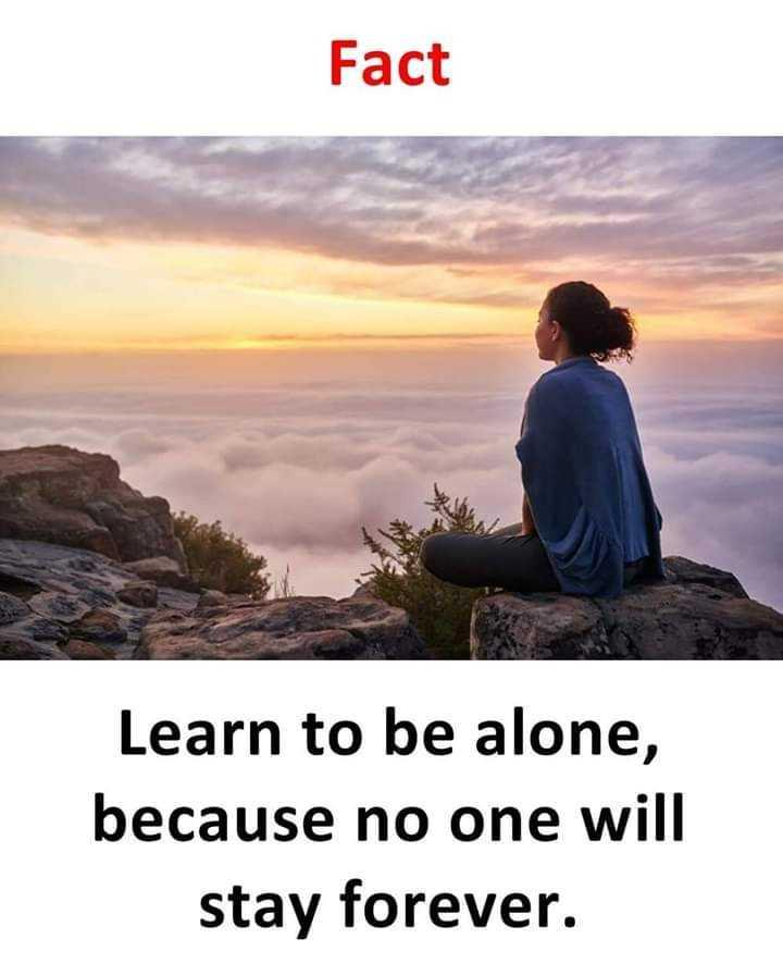 😥ఎమోషనల్ స్టేటస్ - Fact Learn to be alone , because no one will stay forever . - ShareChat