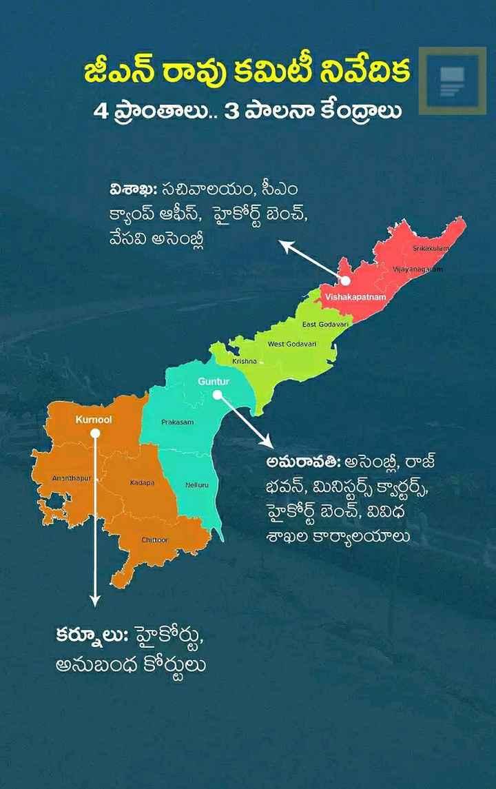 🏢ఏపీలో రాజధానుల ఆందోళన - జీఎన్ రావు కమిటీ నివేదిక 4 ప్రాంతాలు . . 3 పాలనా కేంద్రాలు విశాఖ : సచివాలయం , సీఎం క్యాంప్ ఆఫీస్ , హైకోర్ట్ బెంచ్ , వేసవి అసెంబ్లీ Srikakulam Vijayanagaram Vishakapatnam East Godavari West Godavari Krishna Guntur Kurnool Prakasam Ananthapur Kadapa Nelluru అమరావతి : అసెంబ్లీ , రాజ్ భవన్ , మినిస్టర్స్ క్వార్టర్స్ , హైకోర్ట్ బెంచ్ , వివిధ శాఖల కార్యాలయాలు Chittoor . కర్నూలు : హైకోర్టు , అనుబంధ కోర్టులు - ShareChat