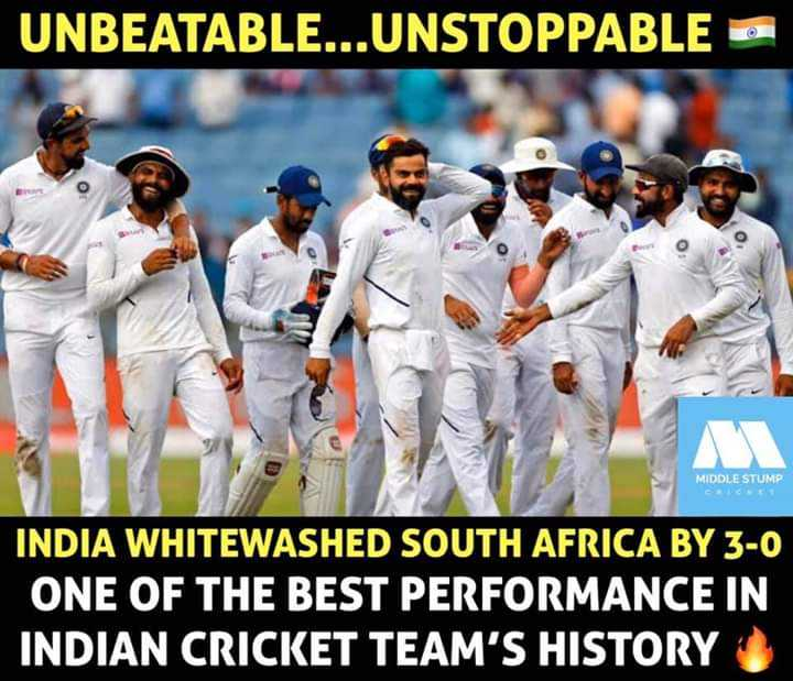 🏏క్రికెట్ - UNBEATABLE . . . UNSTOPPABLE O MIDDLE STUMP INDIA WHITEWASHED SOUTH AFRICA BY 3 - 0 ONE OF THE BEST PERFORMANCE IN INDIAN CRICKET TEAM ' S HISTORY - ShareChat