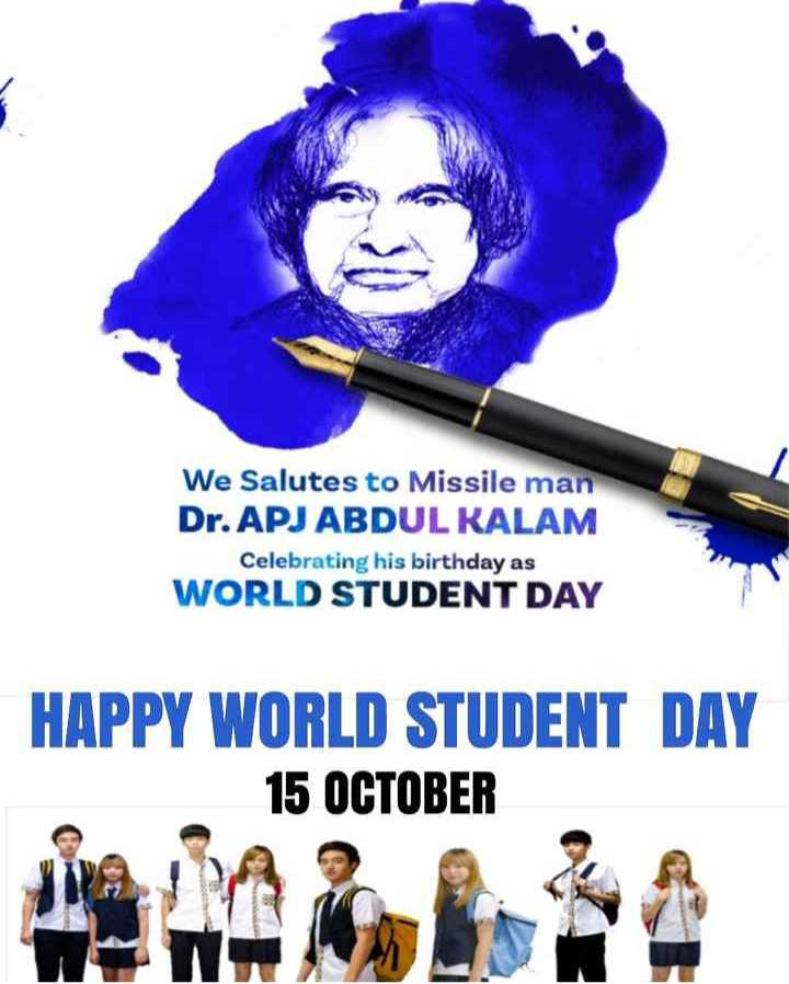 🗓చరిత్రలో నేడు - We Salutes to Missile man Dr . APJ ABDUL KALAM Celebrating his birthday as WORLD STUDENT DAY HAPPY WORLD STUDENT DAY 15 OCTOBER - ShareChat