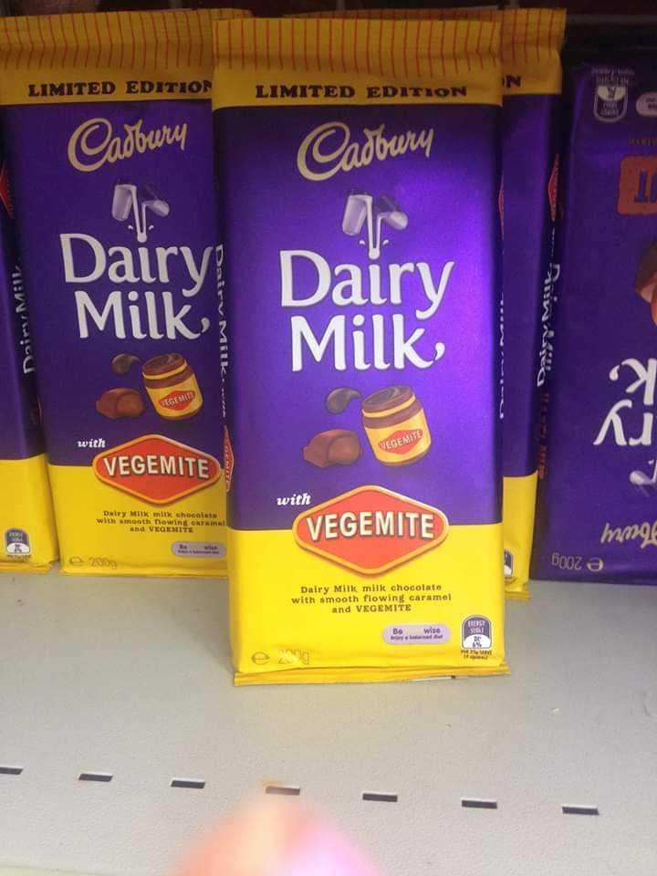 🍮జెల్లీ స్లైస్ - LIMITED EDITION IN LIMITED EDITION Cadbury Cadbury Naim MAIL Dairy ? Milk Dairy Milk VEGEDIT with VEGEMITE VEGEMITE with Dairy Milk milk chocolate with smooth flowin n al hd V GEMELTE VEGEMITE mmg Боргә e2000 Dairy Milk mill chocolate with smooth flowing caramel and VEGEMITE Be wise - - - - - - - - ShareChat