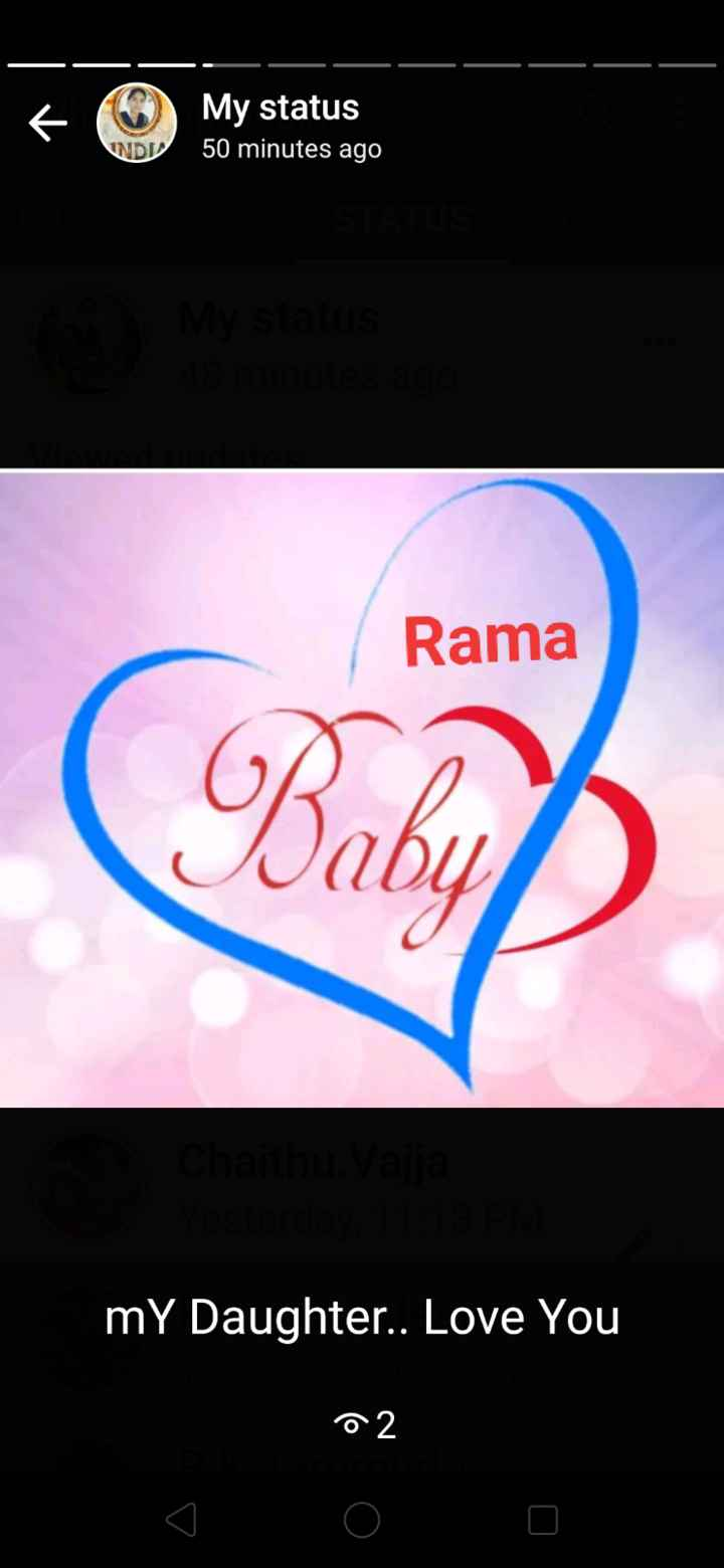 🎼 టోన్స్ - My status WD 50 minutes ago Rama | Baby ' my Daughter . . Love You 02 - ShareChat