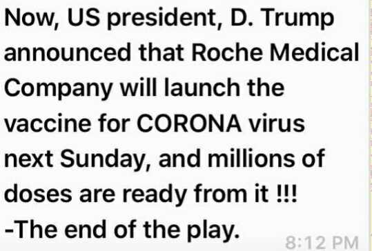 🆕📰తాజావార్తలు - Now , US president , D . Trump announced that Roche Medical Company will launch the vaccine for CORONA virus next Sunday , and millions of doses are ready from it ! ! ! - The end of the play . We pray : 8 : 12 PM - ShareChat