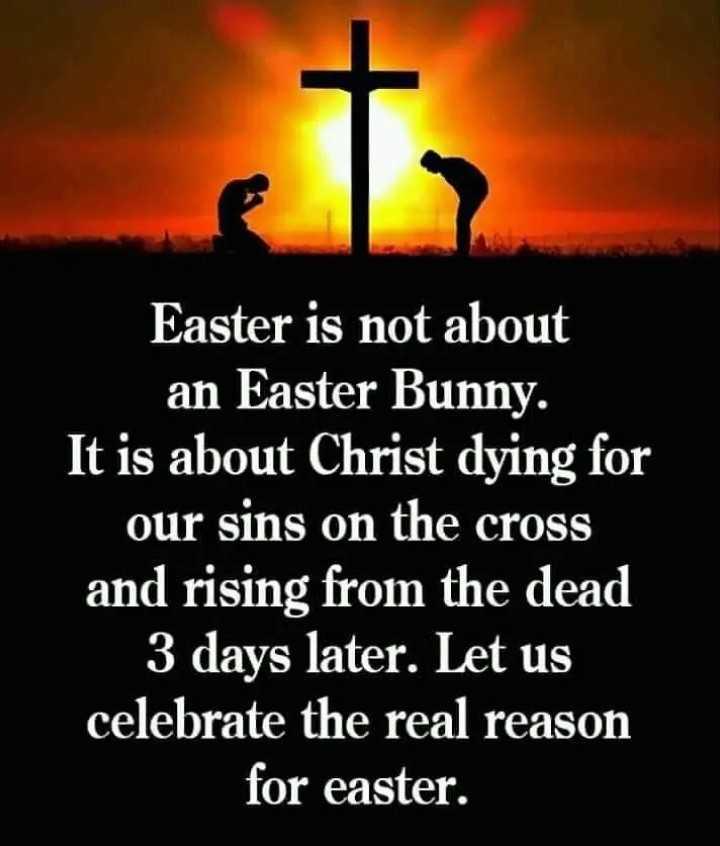 🔱దేవుళ్ళు - Easter is not about an Easter Bunny . It is about Christ dying for our sins on the cross and rising from the dead | 3 days later . Let us celebrate the real reason for easter . - ShareChat