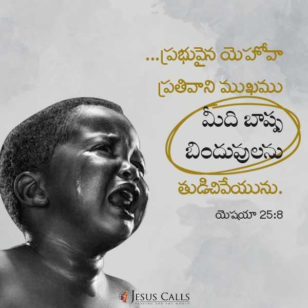 నేటి ఆశీర్వాదం - . . . ప్రభువైన యెహోవా ప్రతివాని ముఖము మీది బాష్ప బిందువులను తుడిచివేయును . యెషయా 25 : 8 JESUS CALLS - ShareChat