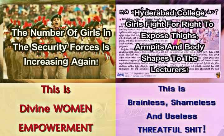 నేటి యువత - • విద్యార్థినుల ఆగ్రహం కళాశాల ముందు ధర్నా The Number Of Girls In 20 Hyderabad . College eja ? Girls Fight F ఇక దుస్తులు ExposeThighs పద్య Armpits AndBody and Shapes To The story on వెంటనే రద్దు చేయాలని డిమాండ్ చేస్తూ కాలేజీ యువతులు యాజమాన్యానికి వ్యతిరేకంగా నిరసన కార్యక్రమం త ను కనీసం తను ఇష్టమని ఇష్టమైన దుస్తులు ధరించే హక్కు se బాడీ . పై ఛాయిస్ , అవర్ వాయి ! బ్రెయిన్స్ . . నాట్ బాడీస్ , స్టాప్ మోరల్ పోలీసింగ్ , యవ్ ది డ్రెస్ కోడ్ , స్టాప్ షేమింగ్ యంగ్ గాడ్స్ , వి వాల్ సెక్సువల్ జం సకారులు The Security Forces Is Increasing Again ! యాజమాన్యం నర్దిచెప్పే ప్రయత్నం చేసింది . సంప్రదాయ వస్త్రాలు ధరిస్తే మీరే మాట్లాడడానికి ఇది కాలేడా ? లేక మ్యాట్రిమోని సైటా ? . . మేము కాలేజీ మంచిది . సమాజంలో గౌరవం - మంచి సంబంధాలు ఉపపురోషషో చేయడానికి కాదు . . మేము ఎలాంటి వస్తాయి అంటూ కాలేజీ యాS hంరు . సెయింట్ ఫ్రాన్సిస్ ఉమెన్స్ అంతేకాకుండా విద్యార్థినులు స్త్రీవల్ల కాసంలో షరతులు విధించారు . ఇబ్బంది పడతారని యాజమాన్యం చెబుతోంది . అయితే యాజమాన్యం తీరుపై విద్యార్థులెవరూ మోకాళ్ల పైకి ఉండే దుస్తులు కానీ , స్లీవ్ లెస్ కానీ , శరీరం యువతులు ఆగ్రహం వ్యక్తం చేస్తున్నారు . ళ్లి విషయంపై కనిపించేలా ఉండే దుస్తులు కానీ వేసుకుని రావడానికి వీలు లేడని తల్లిదండ్రులకు లేని బాధ మీకెందుకు ? . . S చింది షరతు పెట్టిన మరుసటి రోజు నుంచే సుర Tue , 17 September 2013 3 epaper suryaa . com / c / 43673493 inverts Tue , 17 September 2013 Lecturers ! This Is Brainless , Shameless This is Divine WOMEN EMPOWERMENT And Useless THREATFUL SHIT ! - ShareChat