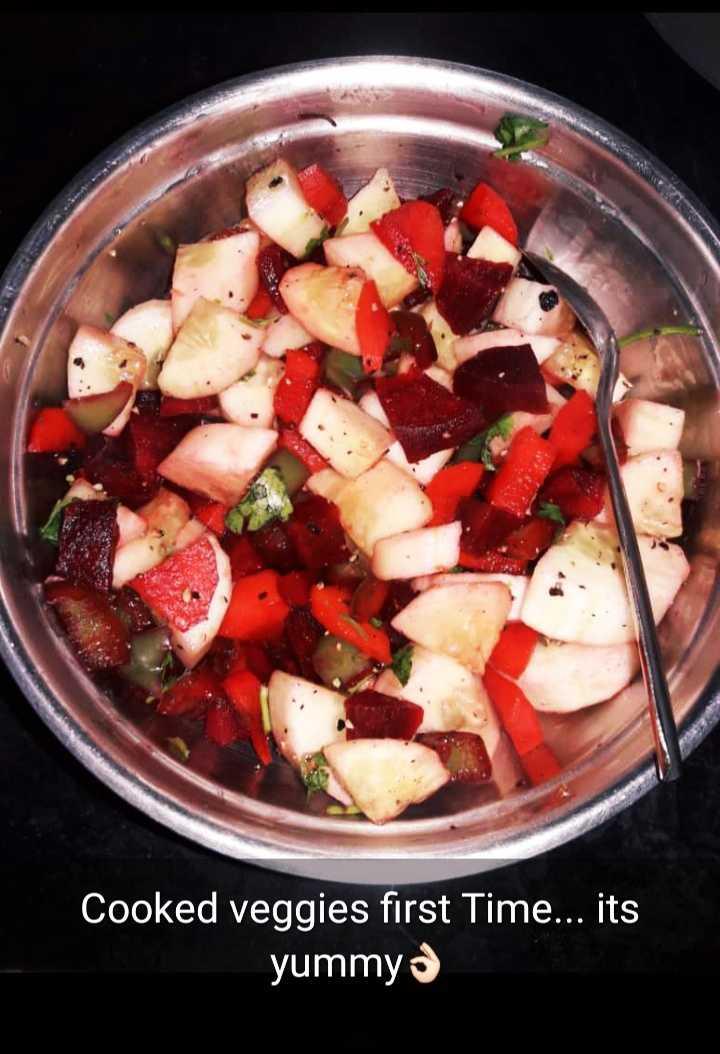 🍝నో డైట్ డే 🍝 - Cooked veggies first Time . . . its yummys - ShareChat