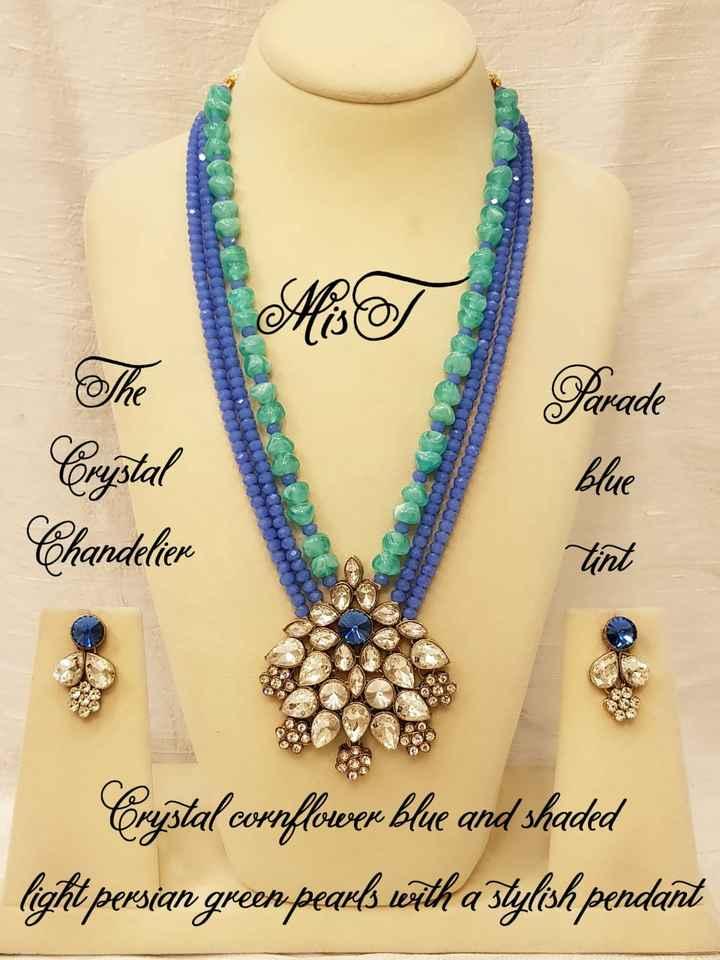 👗ఫ్యాషన్ - Parade Crystal Chandelier Blue tint Crystal cornflower blue and shaded light persian green pearls with a stylish pendant - ShareChat