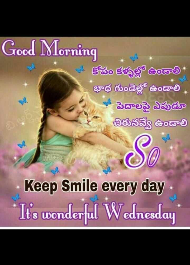 🌷బుధవారం స్పెషల్ విషెస్ - Good Morning . . కోపం కళ్ళల్లో ఉండాలి భాధ గుండెల్లో ఉండాలి పెదాలపై ఎపుడూ చిరునవ్వే ఉండాలి Keep Smile every day ' It ' s wonderful Wednesday 3 Wonder eonesaai - ShareChat