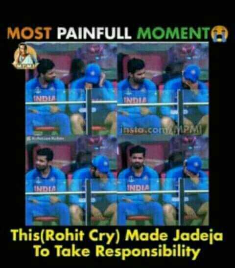 🌦ముంబైలో వానలు - MOST PAINFULL MOMENT insta . com PM This ( Rohit Cry ) Made Jadeja To Take Responsibility - ShareChat