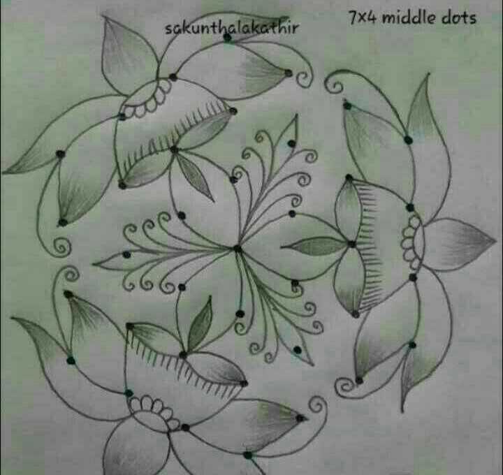 🤞🏽ముత్యాల ముగ్గులు - 7x4 middle dots sal - ShareChat
