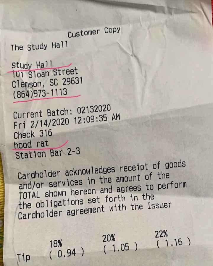 మెడిటేషన్ - Customer Copy The Study Hall Study Hall 101 Sloan Street Clemson , SC 29631 ( 864 ) 973 - 1113 Current Batch : 02132020 Fri 2 / 14 / 2020 12 : 09 : 35 AM Check 316 hood rat Station Bar 2 - 3 Cardholder acknowledges receipt of goods and / or services in the amount of the TOTAL shown hereon and agrees to perform the obligations set forth in the Cardholder agreement with the Issuer 22 % 18 % 20 % ( 1 . 05 ) ( 1 . 16 ) Tip ( 0 . 94 ) - ShareChat