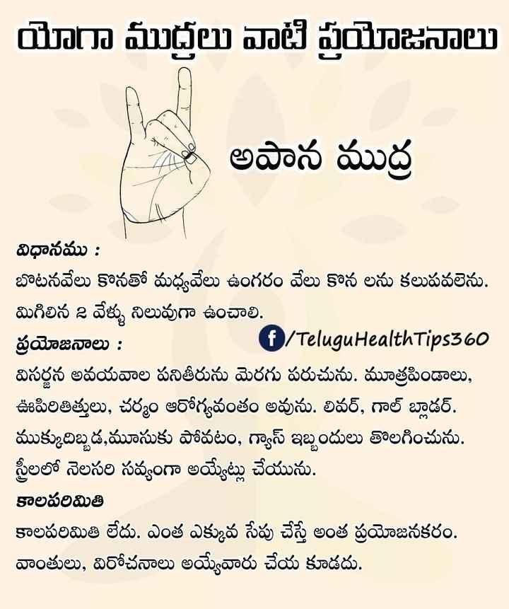 ☀యోగాసనం - యోగా ముద్రలు వాటి ప్రయోజనాలు | అపాన ముద్ర విధానము : బొటనవేలు కొనతో మధ్యవేలు ఉంగరం వేలు కొన లను కలుపవలెను . మిగిలిన 2 వేళ్ళు నిలువుగా ఉంచాలి . ప్రయోజనాలు : | ( f / TeluguHealthTips360 విసర్జన అవయవాల పనితీరును మెరగు పరుచును . మూత్రపిండాలు , ఊపిరితిత్తులు , చర్మం ఆరోగ్యవంతం అవును . లివర్ , గాల్ బ్లాడర్ . ముక్కుదిబ్బడ , మూసుకు పోవటం , గ్యాస్ ఇబ్బందులు తొలగించును . స్త్రీలలో నెలసరి సవ్యంగా అయ్యేట్లు చేయును . కాలపరిమితి కాలపరిమితి లేదు . ఎంత ఎక్కువ సేపు చేస్తే అంత ప్రయోజనకరం . వాంతులు , విరోచనాలు అయ్యేవారు చేయ కూడదు . - ShareChat