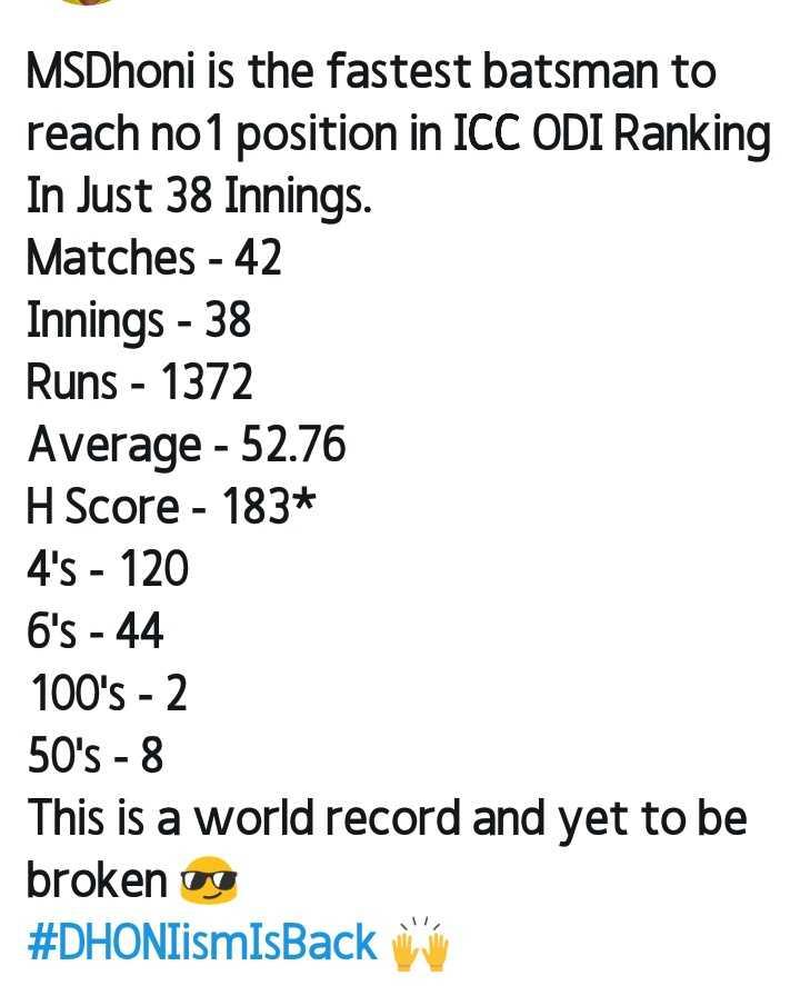 🏏రాజస్థాన్ విక్టరీ🏏 - MSDhoni is the fastest batsman to reach no 1 position in ICC ODI Ranking In Just 38 Innings . Matches - 42 Innings - 38 Runs - 1372 Average - 52 . 76 H Score - 183 * 4 ' s - 120 6 ' s - 44 100 ' s - 2 50 ' s - 8 This is a world record and yet to be broken og # DHONIismIsBack w - ShareChat