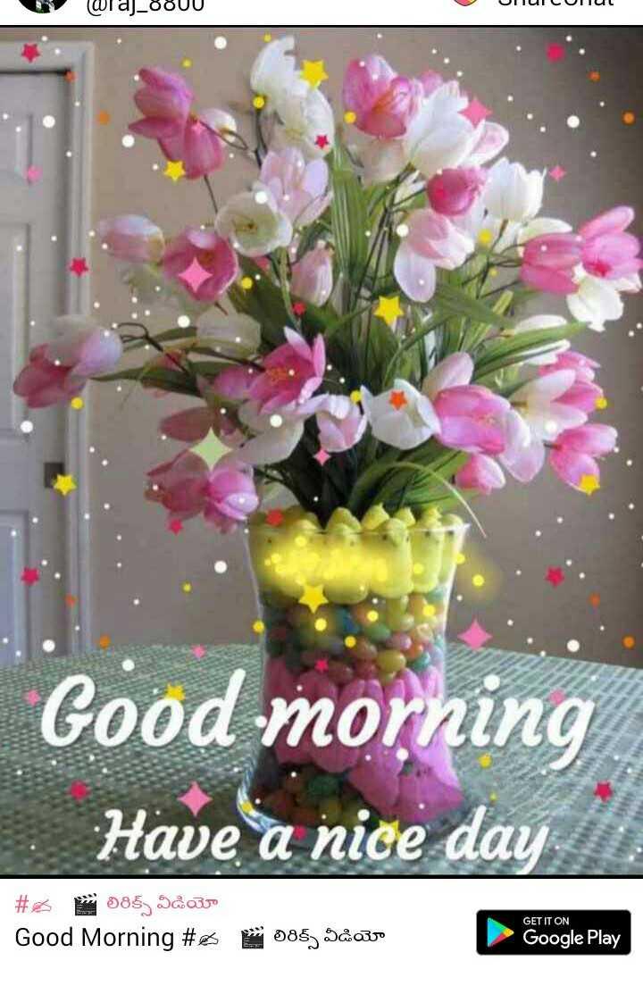 💐విషెస్ GIF - w Waj _ 8800 JIUICULUL Good morning Have a nice day # 085 ) Sås Good Morning # E GET IT ON - లిరిక్స్ వీడియో Google Play - ShareChat