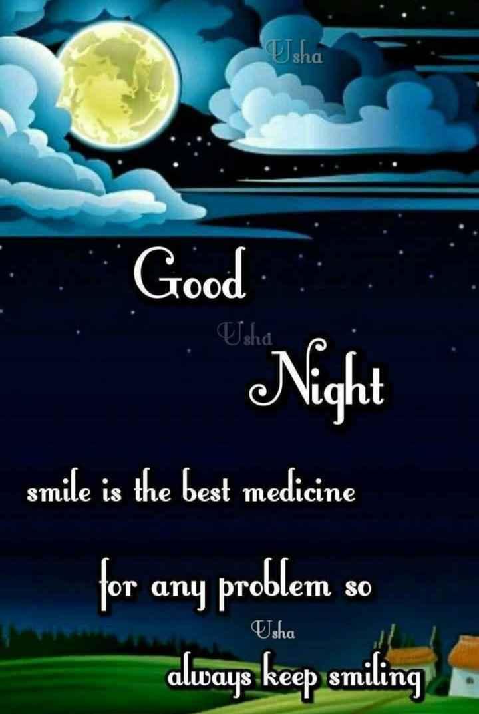 😴శుభరాత్రి - Isha Good Night smile is the best medicine for any problem so always keep smiling : Usha - ShareChat