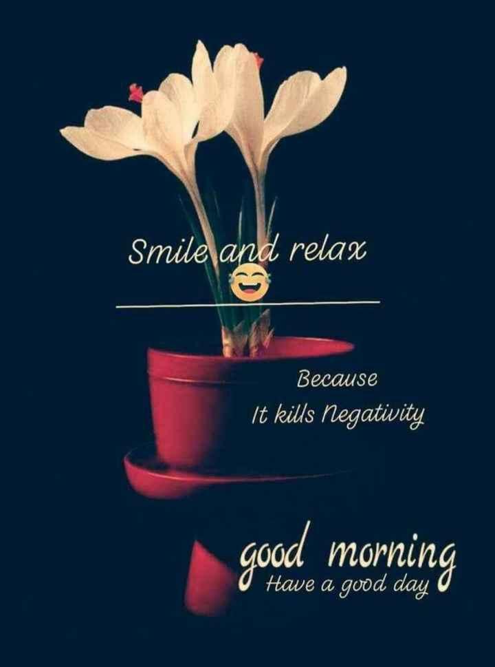 🌅శుభోదయం - Smile and relax Because ' It kills negativity good morning O Have a good day o - ShareChat