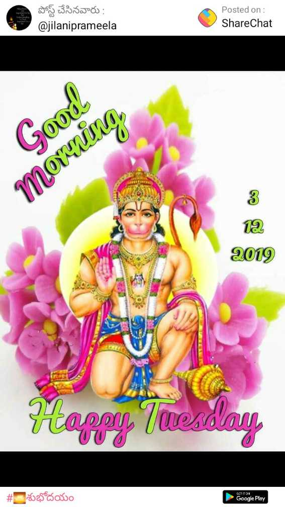 🌅శుభోదయం - పోస్ట్ చేసినవారు : @ jilaniprameela Posted on : ShareChat Good morning 12 2019 CAS Happy , Tuesday # esos ao Google Play - ShareChat