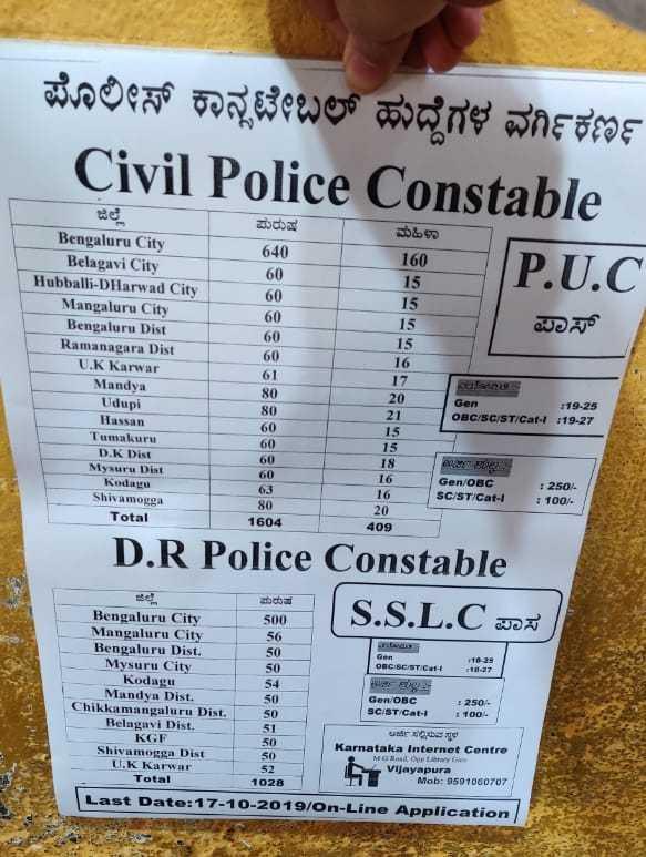 🎓 ಉದ್ಯೋಗ ಅವಕಾಶ - ಪೊಲೀಸ್ ಕಾನ್ಸಟೇಬಲ್ ಹುದ್ದೆಗಳ ವರ್ಗಿಕರ್ಣ Civil Police Constable P . U . C ಪುರುಷ 640 60 & 160 15 15 15 ಪಾಸ್ 15 16 ಜಿಲ್ಲೆ Bengaluru City Belagavi City Hubballi - D Harwad City Mangaluru City Bengaluru Dist Ramanagara Dist UK Karwar Mandya Udupi Hassan Tumakuru DK Dist Mysuru Dist Kodagu Shivamogga Total 17 80 ene Gen OBC / SC / ST / Cat 80 : 19 - 25 : 19 - 27 60 60 20 21 15 15 18 16 16 20 409 60 63 Gen / OBC SC / ST / Cat - 1 250 % 100 / 80 1604 D . R Police Constable S . S . L . C ad e Bengaluru City 500 Mangaluru City 56 Bengaluru Dist . 50 Mysuru City CNC SC / ST CH 18 - 27 Kodagu Mandya Dist . Gen OBC 250 . Chikkamangaluru Dist . SC / ST / Gati 100 Belagavi Dist . KGF Karnataka Internet Centre Shivamogga Dist 50 Moppy UK Karwar Vijayapura Total Mob : 9591060707 1028 Last Date : 17 - 10 - 2019 / On - Line Application - ShareChat