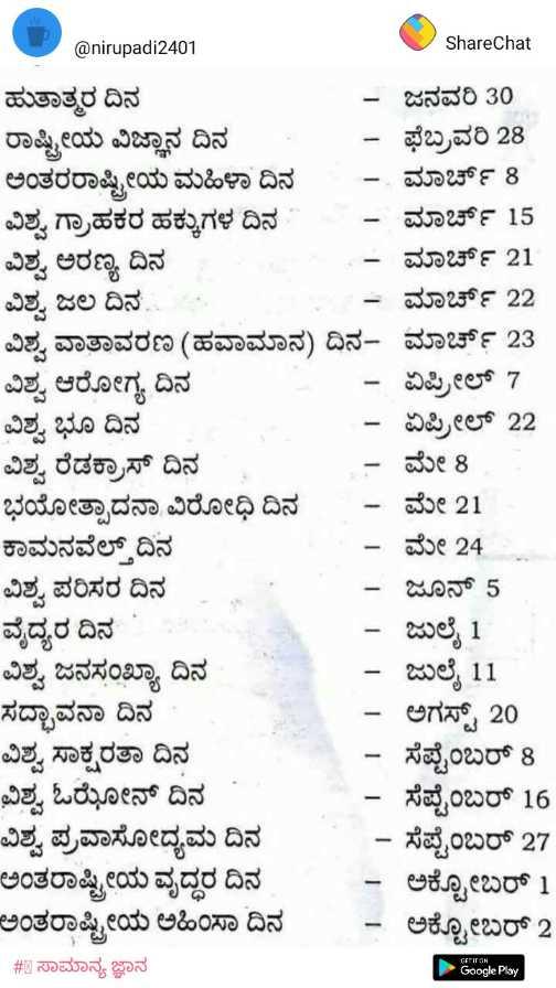 💯ಎಕ್ಸಾಮ್ ಪ್ರಶ್ನೋತ್ತರ - @ nirupadi2401 ShareChat ಹುತಾತ್ಮರ ದಿನ ಜನವರಿ 30 ರಾಷ್ಟ್ರೀಯ ವಿಜ್ಞಾನ ದಿನ - ಫೆಬ್ರವರಿ 28 ಅಂತರರಾಷ್ಟ್ರೀಯ ಮಹಿಳಾ ದಿನ ಮಾರ್ಚ್ 8 . ವಿಶ್ವ ಗ್ರಾಹಕರ ಹಕ್ಕುಗಳ ದಿನ - ಮಾರ್ಚ್ 15 ವಿಶ್ವ ಅರಣ್ಯ ದಿನ | ಮಾರ್ಚ್ 21 ವಿಶ್ವ ಜಲ ದಿನ . * ಮಾರ್ಚ್ 22 ವಿಶ್ವ ವಾತಾವರಣ ( ಹವಾಮಾನ ) ದಿನ ಮಾರ್ಚ್ 23 ವಿಶ್ವ ಆರೋಗ್ಯ ದಿನ ಏಪ್ರಿಲ್ 7 ವಿಶ್ವ ಭೂ ದಿನ - ಏಪ್ರಿಲ್ 22 ವಿಶ್ವ ರೆಡಕ್ರಾಸ್ ದಿನ - ಮೇ 8 ಭಯೋತ್ಪಾದನಾ ವಿರೋಧಿ ದಿನ - ಮೇ 21 ಕಾಮನವೆಲ್ತ್ದಿನ - ಮೇ 24 ವಿಶ್ವ ಪರಿಸರ ದಿನ - ಜೂನ್ 5 ವೈದ್ಯರ ದಿನ - ಜುಲೈ 1 ವಿಶ್ವ ಜನಸಂಖ್ಯಾ ದಿನ - ಜುಲೈ 11 ಸದ್ಭಾವನಾ ದಿನ - - ಅಗಸ್ಟ್ 20 ವಿಶ್ವ ಸಾಕ್ಷರತಾ ದಿನ - ಸೆಪ್ಟೆಂಬರ್ 8 ವಿಶ್ವ ಓಝೇನ್ ದಿನ - - ಸೆಪ್ಟೆಂಬರ್ 16 ವಿಶ್ವ ಪ್ರವಾಸೋದ್ಯಮ ದಿನ - ಸೆಪ್ಟೆಂಬರ್ 27 ಅಂತರಾಷ್ಟ್ರೀಯ ವೃದ್ಧರ ದಿನ ಅಕ್ಟೋಬರ್ 1 ಅಂತರಾಷ್ಟ್ರೀಯ ಅಹಿಂಸಾ ದಿನ - ಅಕ್ಟೋಬರ್ 2 - # 8 ಸಾಮಾನ್ಯ ಜ್ಞಾನ Google Play ದಿನ ವ ಇಳಿಕ * - ShareChat