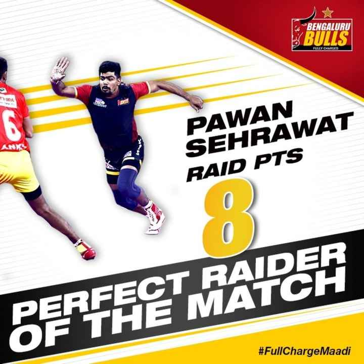 🤼 ಕಬಡ್ಡಿ ಟ್ರೊಲ್ಸ್ - BENGALURU BULLS FULLY CHARGED Tunc TRES ANK PAWAN SEHRAWAT RAID PTS PERFECT RAIDER OF THE MATCH # FullChargeMaadi - ShareChat
