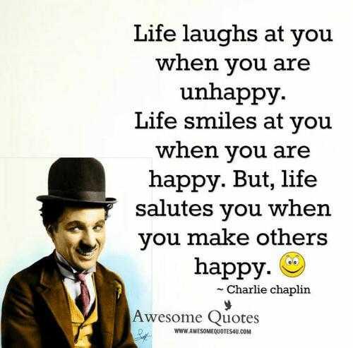 ಚಾರ್ಲಿ ಚಾಪ್ಲಿನ್ ಹುಟ್ಟು ಹಬ್ಬ - Life laughs at you when you are unhappy . Life smiles at you when you are happy . But , life salutes you when you make others happy . - Charlie chaplin Awesome Quotes D WWW . AWESOMEQUOTES4U . COM - ShareChat