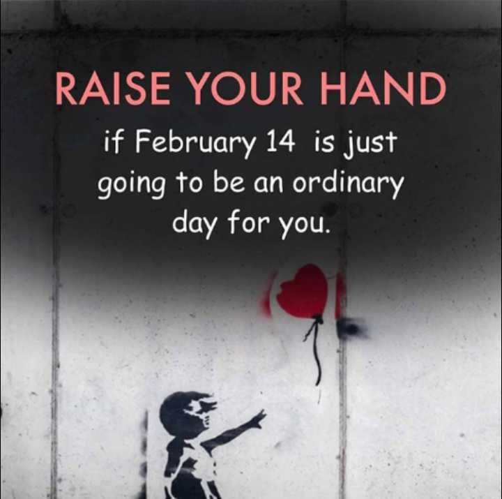 🤔 ನನ್ನ ಪ್ರಕಾರ - RAISE YOUR HAND if February 14 is just going to be an ordinary day for you . - ShareChat