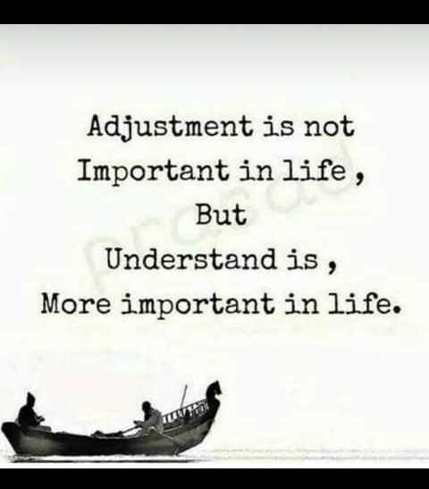 🤔ನನ್ನ ಪ್ರಕಾರ - Adjustment is not Important in life , But Understand is , More important in life . - ShareChat