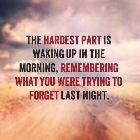 🤔 ನನ್ನ ಪ್ರಕಾರ - THE HARDEST PART IS WAKING UP IN THE MORNING , REMEMBERING WHAT YOU WERE TRYING TO FORGET LAST NIGHT . - ShareChat