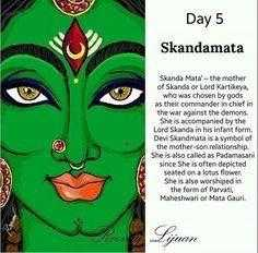 ನವರಾತ್ರಿಯ ಐದನೇ ದಿನ - Day 5 Skandamata Skanda Mata - the mother of Skanda or Lord Kartikeya , who was chosen by gods as their commander in chief in the war against the demons She accompanied by the Lord Skanda in his infant form . Devi Skandmata is a symbol of the mother son relationship She is also called as Padamasan since she is often depicted Seated on a lotus flower She is also worshipedia The formal arvat Maheshwarior Marta Gauri Lijuan - ShareChat