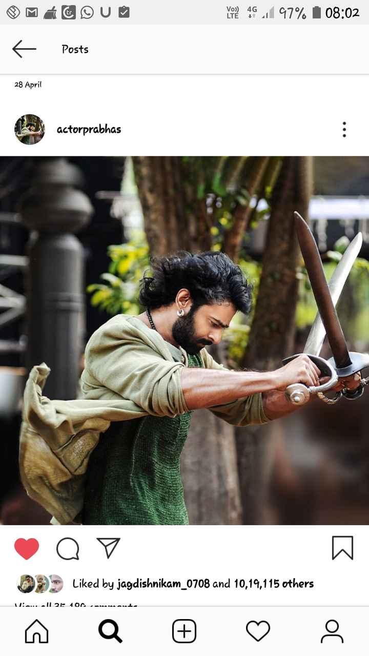 🎂 ಪ್ರಭಾಸ್ ಹುಟ್ಟುಹಬ್ಬ - VO ! 46 , 97 % 08 : 02 Posts 28 April actorprabhas Q V W Liked by jagdishnikam _ 0708 and 10 , 19 , 115 others i . . . Il 21 100 maut ņa © ♡ - ShareChat