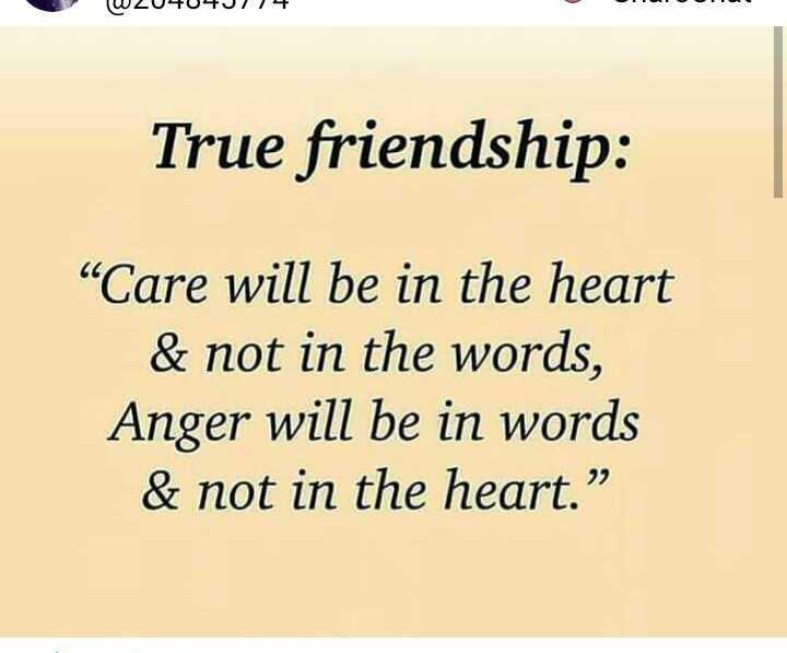 """🤝ಫ್ರೆಂಡ್ ಶಿಪ್ ಸ್ಟೇಟಸ್ - W204040174 True friendship : Care will be in the heart & not in the words , Anger will be in words & not in the heart . """" - ShareChat"""