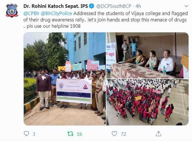 ಬೆಂಗಳೂರು ನಗರ ಪೊಲೀಸ್ - Dr . Rohini Katoch Sepat . IPS @ DCPSouthBCP . 4h @ CPBlr @ BlrCity Police Addressed the students of Vijaya college and flagged of their drug awareness rally . . let ' s join hands and stop this menace of drugs . . pls use our helpline 1908 93 12 16 ♡ 72 - ShareChat