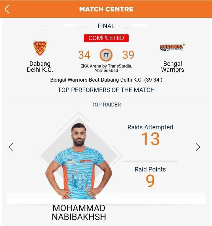 🇺ಬೆಂಗಾಲ್ vs 🌸 ಟೈಟಾನ್ಸ್ - MATCH CENTRE FINAL COMPLETED DABANG DELHI RENTAL WARRIORS 34 € 39 Dabang Bengal EKA Arena by TransStadia , Delhi K . C . Ahmedabad Warriors Bengal Warriors Beat Dabang Delhi K . C . ( 39 - 34 ) TOP PERFORMERS OF THE MATCH TOP RAIDER Raids Attempted 13 Raid Points MOHAMMAD NABIBAKHSH - ShareChat