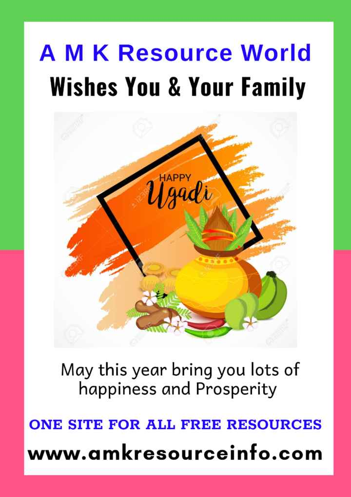 🌱ಯುಗಾದಿ ಹಬ್ಬದ ಶುಭಾಶಯಗಳು - AMK Resource World Wishes You & Your Family 123RF HAPPY Ugadi 212 May this year bring you lots of happiness and Prosperity ONE SITE FOR ALL FREE RESOURCES www . amkresourceinfo . com - ShareChat