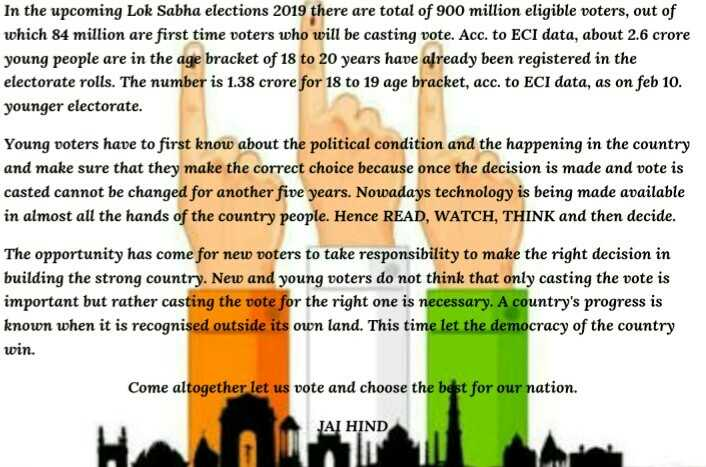ರಾಮ ನವಮಿ - In the upcoming Lok Sabha elections 2019 there are total of 900 million eligible voters , out of which 84 million are first time voters who will be casting vote . Acc . to ECI data , about 2 . 6 crore young people are in the age bracket of 18 to 20 years have already been registered in the electorate rolls . The number is 1 . 38 crore for 18 to 19 age bracket , acc . to ECI data , as on feb 10 . younger electorate . Young voters have to first know about the political condition and the happening in the country and make sure that they make the correct choice because once the decision is made and vote is casted cannot be changed for another five years . Nowadays technology is being made available in almost all the hands of the country people . Hence READ , WATCH , THINK and then decide . The opportunity has come for new voters to take responsibility to make the right decision in building the strong country . New and young voters do not think that only casting the vote is important but rather casting the vote for the right one is necessary . A country ' s progress is known when it is recognised outside its own . This time let the democracy of the country win . Come altogether let us vote and choose the best for our nation . JAI HIND - ShareChat