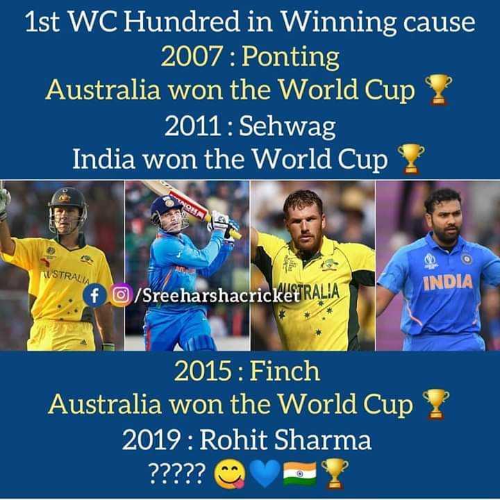 🏆 ವಿಶ್ವ ಕಪ್ ನೆನಪು - 1st WC Hundred in Winning cause 2007 : Ponting Australia won the World Cup Y 2011 : Sehwag India won the World Cup AUSTRALIA INDIA f O / SreeharshacricketTRALIA 2015 : Finch Australia won the World Cup ? 2019 : Rohit Sharma ? ? ? ? ? ? ? - ShareChat