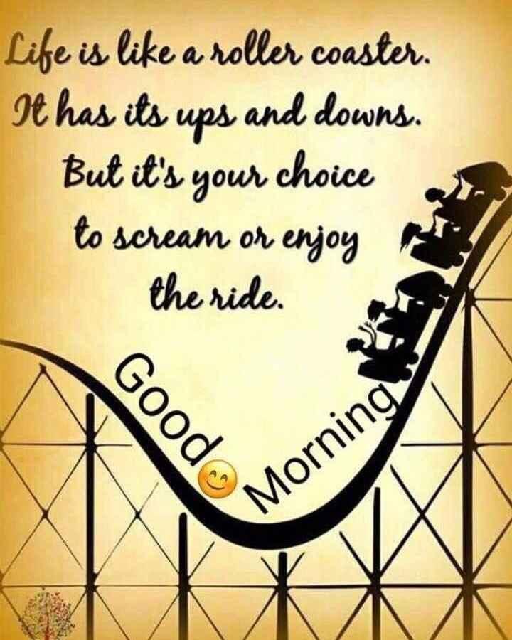 🌅ಶುಭೋದಯ - Life is like a roller coaster . It has its ups and downs . But it ' s your choice to scream or enjoy the ride . Good Morning - ShareChat
